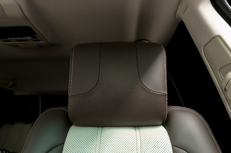 Modern interior of car  Leather headrest  photo