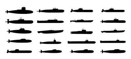 Submarines black silhouettes set.  Isolated on white background   Vector