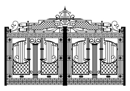 iron gate: Forged gate  Architecture detail  Illustration