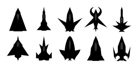 interceptor: Futuristic spaceship silhouettes  Illustration