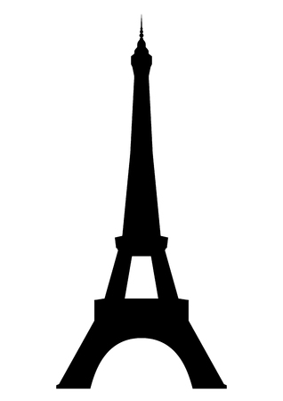 Eiffel tower in Paris  Isolated on white background  Vector  Çizim