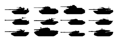 cold war: Tanks silhouettes set.