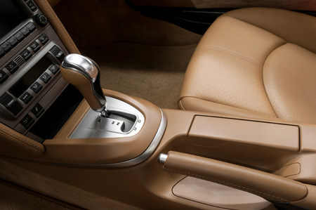 Detail interior of modern auto. Gear shift in car. Stock Photo