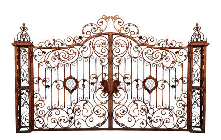 Old rusty cemetery gate. Isolated on white background.