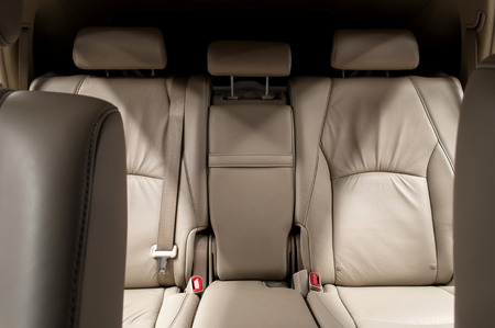Rear leather seats. Car interior. Banco de Imagens