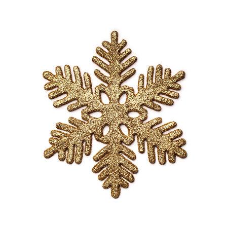 Decorative golden snowflake isolated on white. Stock Photo