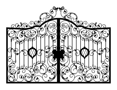 victorian gates: Forged gate. Architecture detail. Vector EPS10.