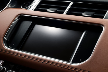 Panel of modern car. Touch screen multimedia system. Auto interior detail. Фото со стока - 34698619