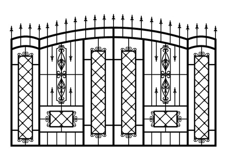 victorian gates: Forged gate isolated on white background. Architecture detail.