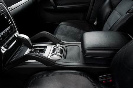 shift: Automatic transmission gear shift. Modern car interior detail.