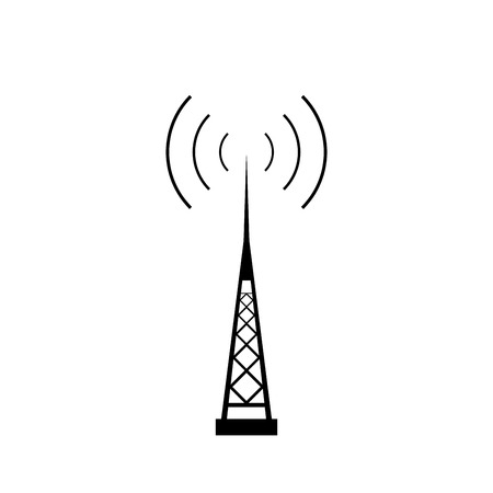 mast cell: Broadcasting antenna with signal waves on white background. Vector EPS10.