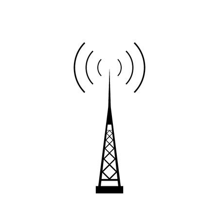 radio mast: Broadcasting antenna with signal waves on white background. Vector EPS10.