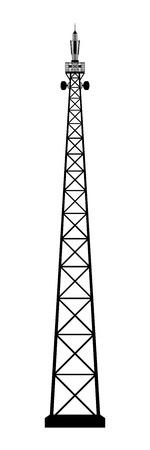 mast cells: Broadcasting antenna on white background