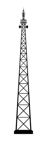 Broadcasting antenna on white background