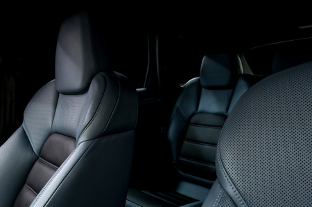 speed car: Leather car seats. Interior detail. Stock Photo