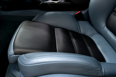 Leather car seat. Interior detail.