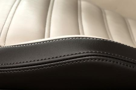 Detail of leather car seat. Horizontal photo. Stockfoto