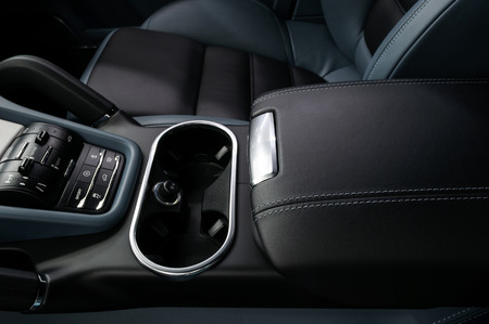 lather: Modern car lather armrest. Interior detail. Stock Photo