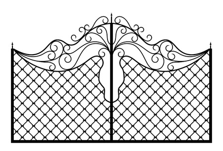metal gate: Forged gate. Architecture detail. Vector EPS10.