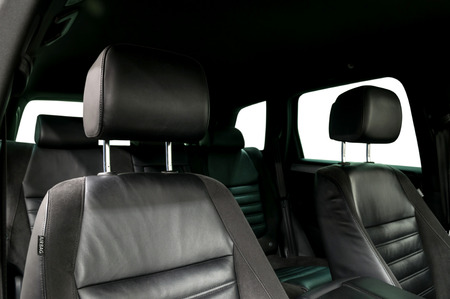 Modern car leather seats. Interior detail.