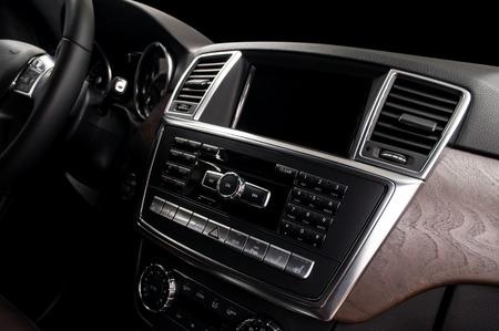 Screen multimedia system in Modern car dashboard.