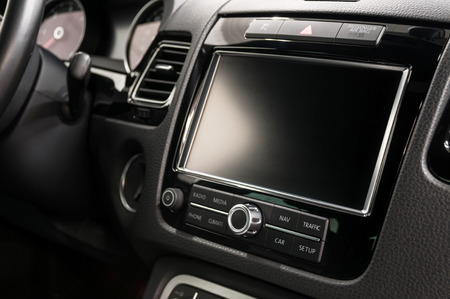 dash: Modern car dashboard. Screen multimedia system. Stock Photo