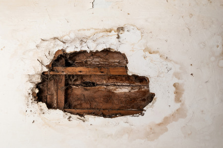 Water damaged ceiling in an old abandoned house.