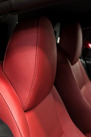 headrest: Sportcar leather headrest. Interior detail.