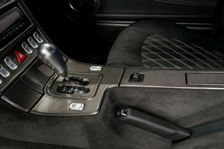 gearstick: Modern car automatic transmission. Interior detail. Stock Photo