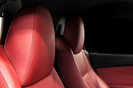Sportcar leather seats. Interior detail. Horizontal photo. Stock Photo