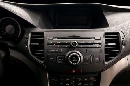 car navigation: Modern car dashboard. Multimedia control system. Interior detail. Stock Photo