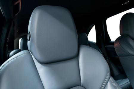 car seat: Leather car seats. Interior detail. Horizontal photo.