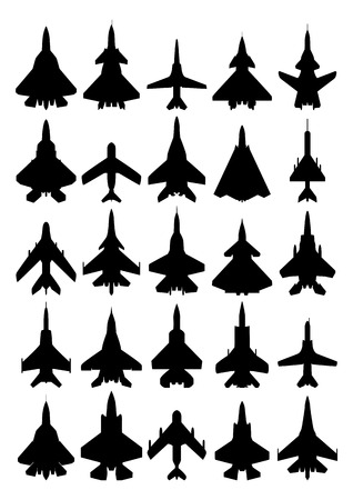 interceptor: Modern airplanes silhouette set. Isolated on white background. Vector EPS10.