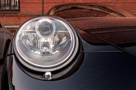 headlights: Sport car headlights. Exterior detail.