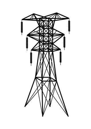 high tension: Power transmission tower. Isolated on white. Vector EPS10.