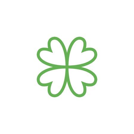 quatrefoil: Clover with four leaves sign icon. Saint Patrick quatrefoil luck symbol. Business abstract logo. Vector EPS10.
