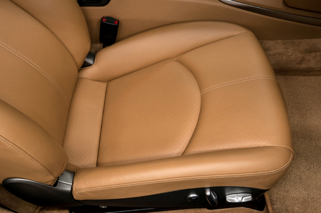 suede belt: Leather car seat. Interior detail.