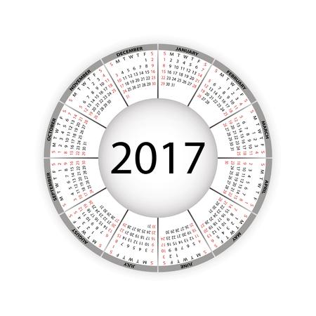 Round calendar for 2017 year. Vector EPS10. Illustration