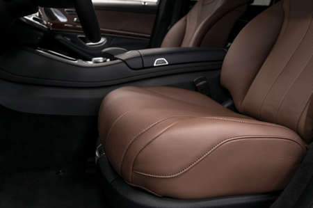 suede belt: Prestige car interior background. Drivers leather seat. Stock Photo