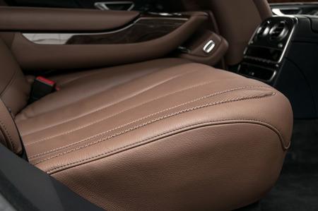 suede belt: Business car back passenger seats. Interior detail. Stock Photo