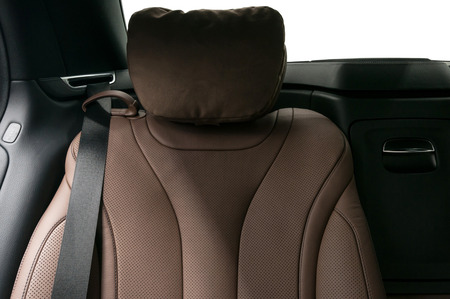 suede belt: Modern car passenger leather seat. Interior detail.
