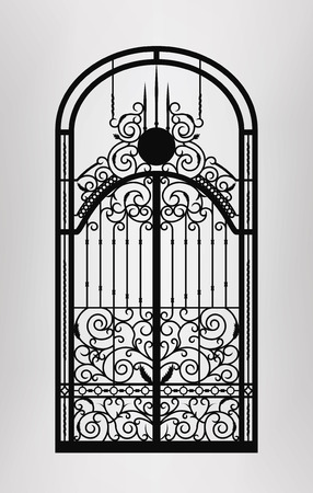 wrought: Forged gate door icon. Vector EPS10.