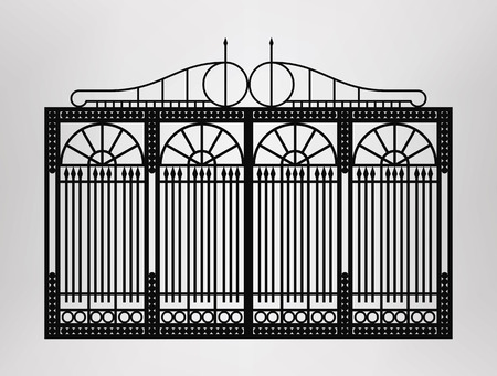 victorian fence: Forged gate. Architecture detail. Vector EPS10.