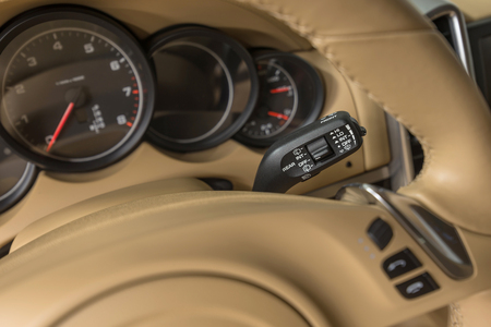 Wipers control. Luxury car interior detail.