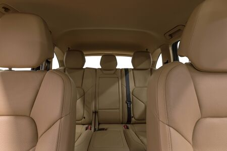suede belt: Luxury car interior. Leather seats.