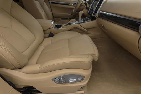 suede belt: Prestige car interior background. Passenger leather seat. Stock Photo
