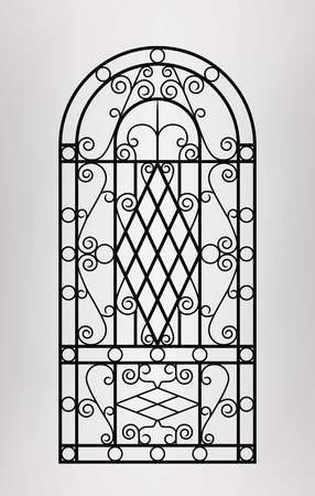 victorian fence: Forged gate door icon. Vector EPS10.