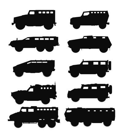 Combat military transportation silhouettes set.