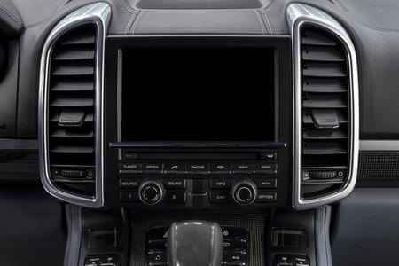Modern car dashboard. Screen multimedia system. Interior background.