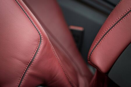 Detail of leather car seat. Stock Photo